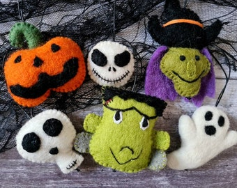 Halloween Tree Decorations - Hanging Felt Witch, Pumpkin, Monster, Skeleton and Ghost
