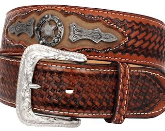 Mens Honey Concho Leather Cowboy Belt Removable Buckle 38 El Presidente