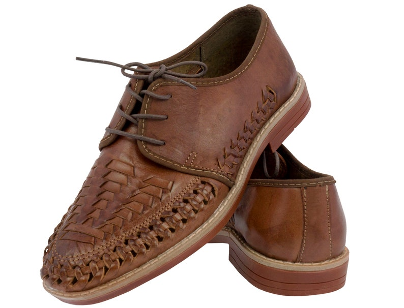 1930s Men's Shoe Styles, Art Deco Era Footwear Mens Real Mexican Huaraches Closed Toe Dress Sandals Lace Up Cognac Brown $42.00 AT vintagedancer.com