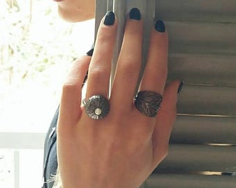 Urchin Ring, Natural, Beach Jewelry, Summer Ring, Urchin Jewelry,Handmade White Plated Silver Sea Urchin Shell Ring with Black Agate Stone