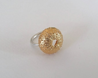 Urchin Ring, Natural, Beach Jewelry, Summer Rings, Urchin Jewelry,Handmade Gold Plated Silver Sea Urchin Shell Ring