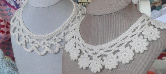 Crochet Collar Patterns Lace Collars Necklace Flower Etsy