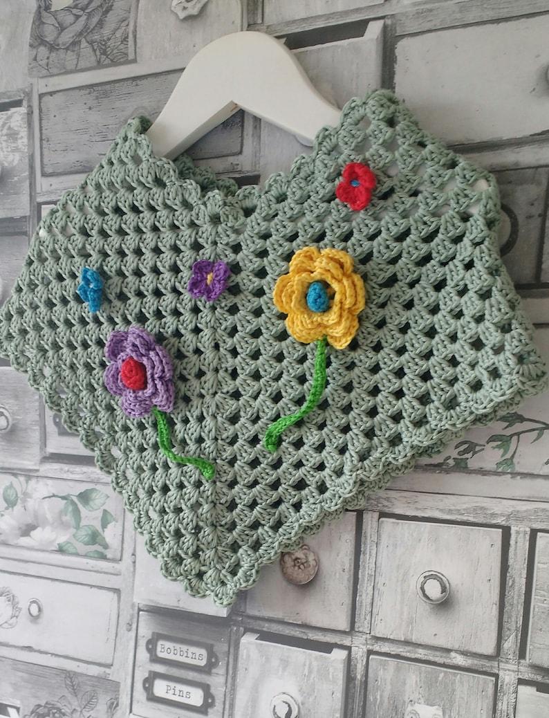 Crochet PATTERN - Crochet Poncho Pattern - Poncho Crochet Pattern with  flower and butterfly crochet embellishment, (Toddler,Child sizes)
