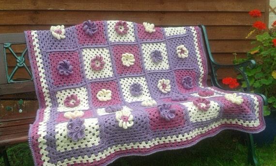 Crochet Pattern Flower Power Granny Squarethrow Afghan Etsy