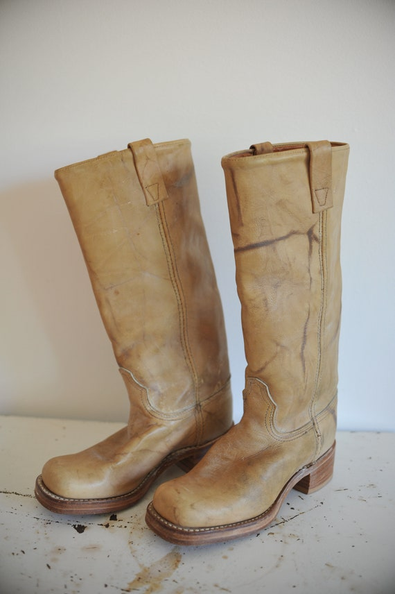 Vintage Tan Leather Distressed Chunky Boots - Size