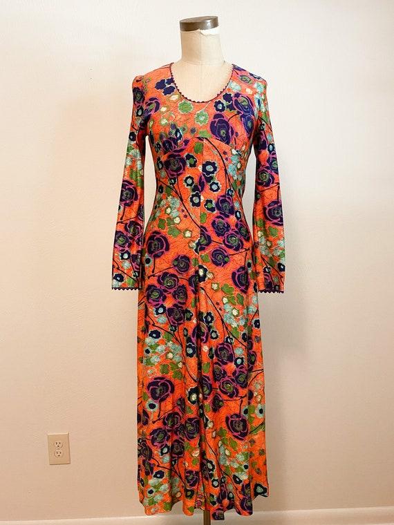 Vintage Psychedelic XS Jersey Knit Maxi Dress
