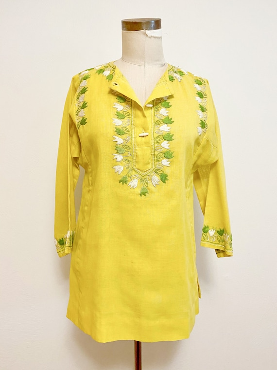 1960s/70s Chartreuse Neusteters Embroidered Tunic - image 1