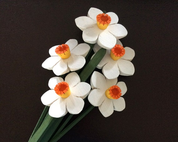 Narcissus Flowers, Handmade Wooden Flowers, Spring Bouquet, Easter is almost here!