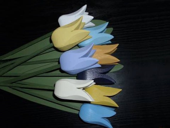 "Handcrafted Wooden Tulips ""Anna"""