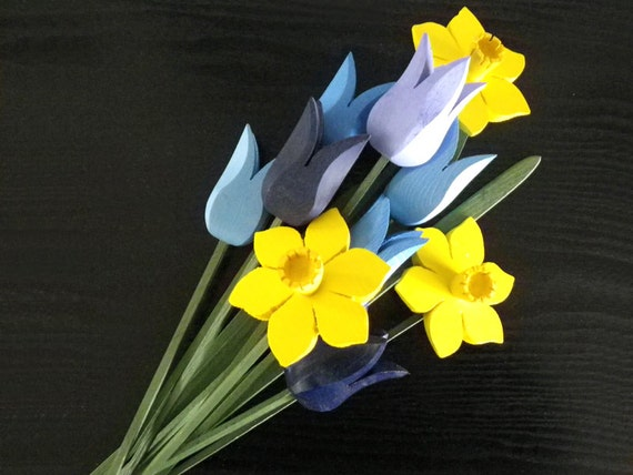 Spring Bouquet - daffodils and tulips, April-Cancer Awareness Month, handcrafted wooden flowers, decor