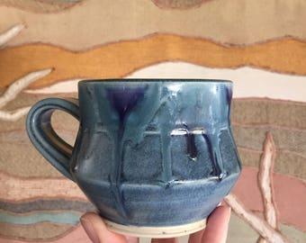 Vintage Blue Pottery Mug Vintage Handmade Blue Drip Glaze Pottery Mug Vintage Studio Pottery Mug  Boho Vintage Pottery Mug