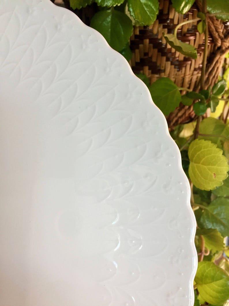 Embossed Bone China Cake Plate Mikasa White Silk Vintage Wedding Shower Anniversary Narumi Japan B2050 Replacement China