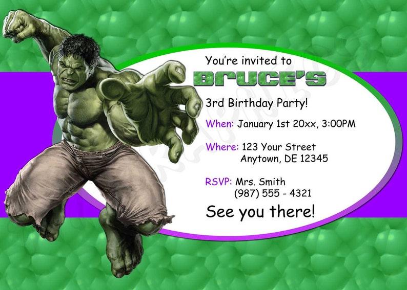 Hulk Birthday Invitation Printable