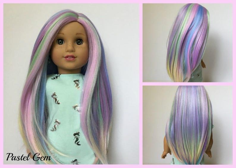 "American Girl Doll Wig Rainbow Unicorn Custom NEW 18/"" Doll any 10-11/"" Head"