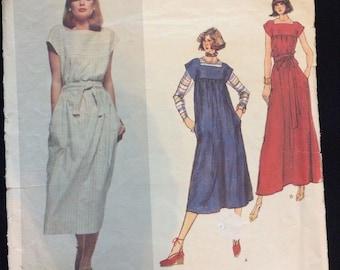 Vogue Paris Original Christian Dior Pattern #1466 Size 10 Belted Loose Dress Smock Maxi Complete Cut