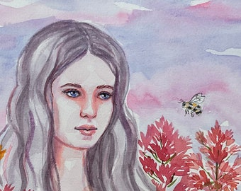 """Original Art Watercolor Painting - She's with the Bees in the Wildflowers - Beautiful Young Woman,  Not a Print or Copy - 10 x 15"""" Fine Art"""