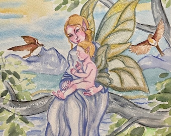 """Fairy Family Original Watercolor Painting, 9 x 12"""", Fairies in tree with iridescent wings and birds, cottage core décor, nursery art"""