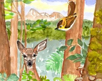 Watercolor Art, Deer, Bird, Woodland, Forest, Fawn, Mount Shasta, Mountain, Nature, Art, Original Painting - Not a Print or Copy