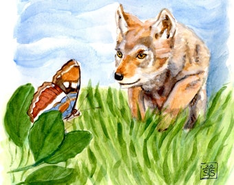 Original Watercolor Painting - 8 x 8 inches - Butterfly - Coyote Pup - Wildlife - Woodland - Animal - Art - Not a print or copy