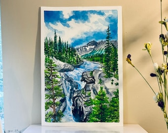 """Original hand-painted watercolor -10 x 7"""" unframed,  Rocky Mountain waterfall and pine tree landscape, wall decor, not a print or copy"""