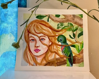 """Original watercolor painting - She is in the jungle with the Resplendent Quetzal bird of Quetzalcoatl Myth, not a print or copy - 8 x 8"""""""