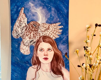 Hand Painted Watercolor Wall Decor, Owl and Female, moon and constellations, Auburn ginger hair, stars, shooting star, not a print or copy,