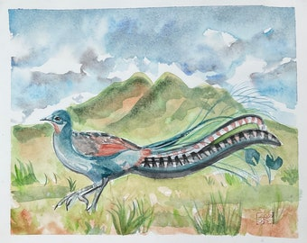 "Original Watercolor Of the Superb Lyrebird, Unique wall decor, hand painted bird art, 9 x 11 "", soft pastel landscape, Not a Print or Copy,"