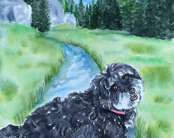 Hand Painted Pet Portrait in Watercolor with background of your choice, Not a print or copy, this is a OOAK Art piece to cherish forever