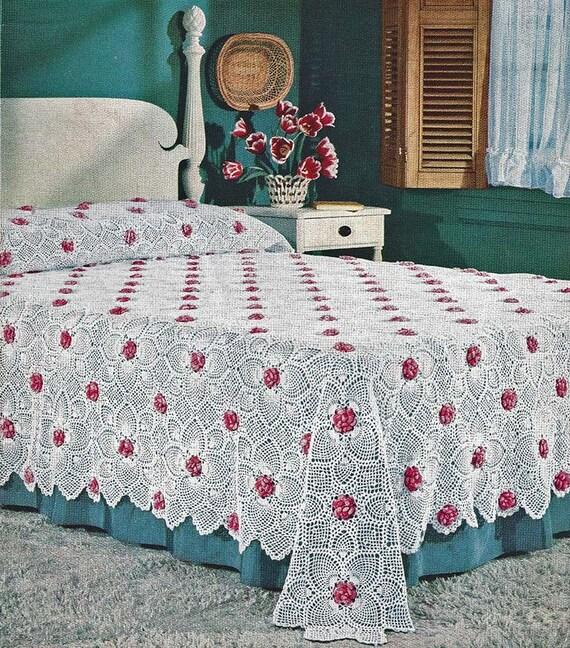 Digital Pattern Rose Pineapple Bedspread Crochet Pattern Etsy