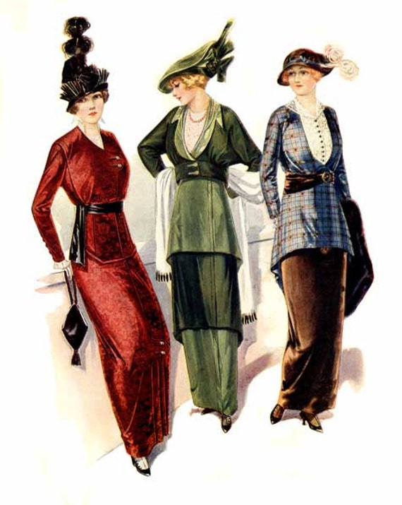 Digital Image 1910 S Fashion Illustration Ladies Suits Etsy