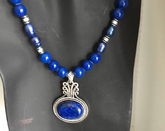 Lapis Jade Freshwater Pearl Necklace