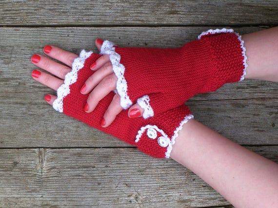 192253eeb5008 Red merino arm warmers Warm knit wrist warmers Valentines