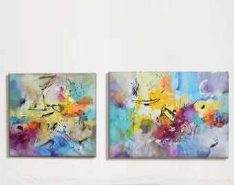 Modern Art Abstract Painting, Diptych, Original Painting Canvas Art, Abstract Painting Canvas Art, Living Room Art, Large Abstract Paintin