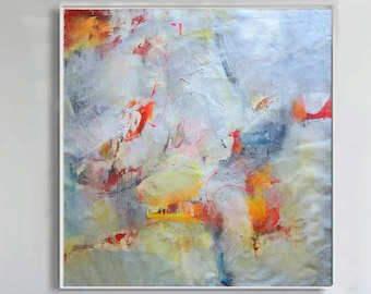 Modern Art Abstract Painting, Original Painting Canvas Art, Abstract Painting Canvas Art, Living Room Art, red, orange, gray colors