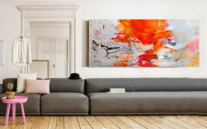Original abstract acrylic painting on canvas large wall art image 0