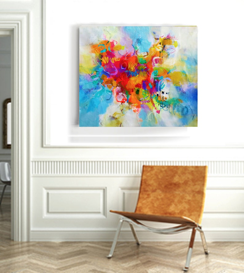 Painting on canvas original abstract art vertical abstract image 0