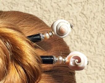 "Set of 2 Seashell ""Cali"" Tidal Hair Sticks- Free US Shipping"