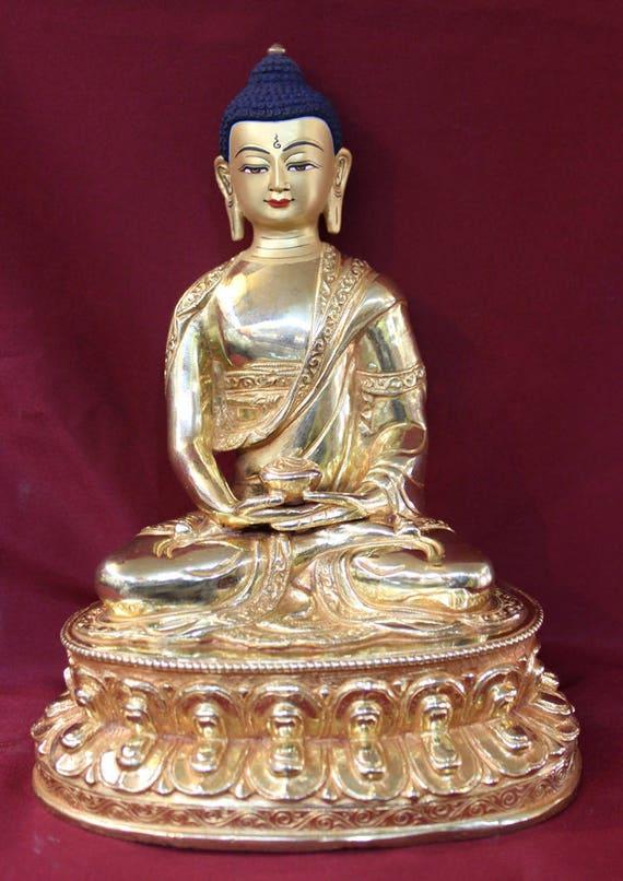 Bouddha Amitabha Bouddha Pendentif 24kt Or Plaqué Charme bijoux Pure Land Buddhism