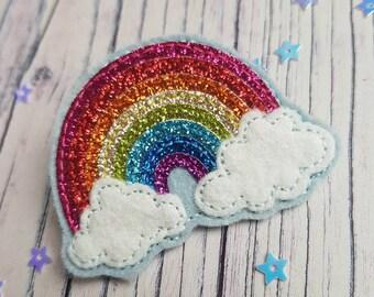 Tiny glitter rainbow brooch