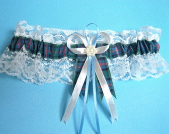 Flower of Scotland tartan wedding bridal garter ivory or white lace. Made in Scotland.