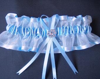 Blue wedding garter bridal garter with diamonte, organza