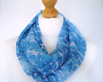 Turquoise blue pattern infinity scarf loop scarf chiffon scarf cowl