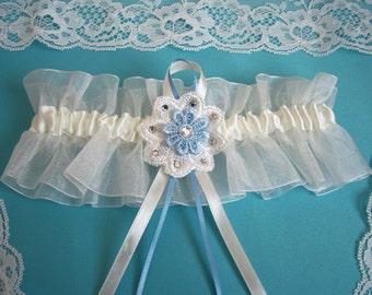 Ivory wedding garter bridal garter organza garter something blue flower diamantes