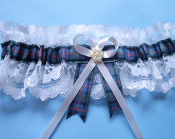 Flower of Scotland tartan wedding bridal garter ivory or white lace. Standard and plus size. Made in Scotland.