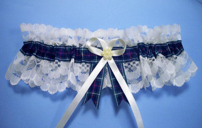 MacKenzie McKenzie tartan bridal wedding garter ivory or white