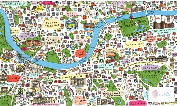 South West London Map.Illustrated Map Of South West London 2nd Edition Etsy