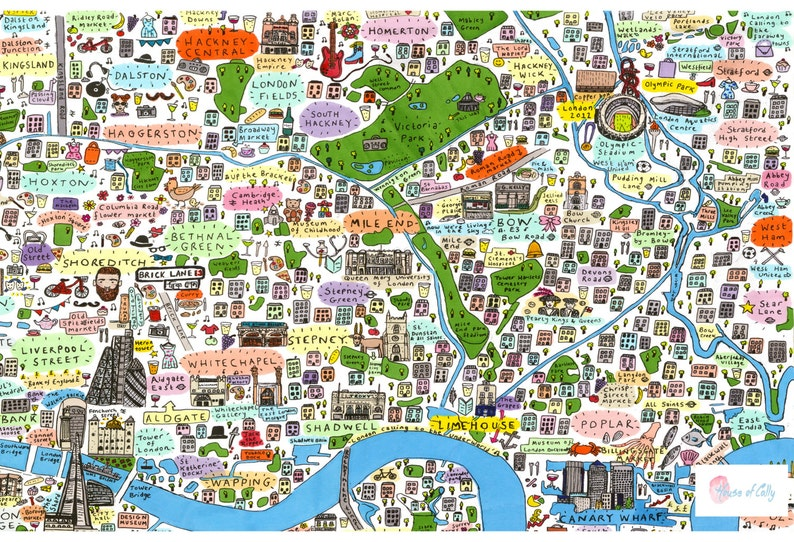 East London On Map.Illustrated Map Of East London
