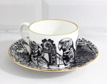 Luxury Flora & Fauna fine bone teacup set