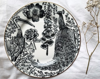 Luxury Flora and Fauna fine bone china plate