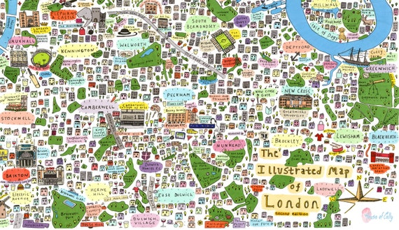 Map Of South East London.Illustrated Map Of South East London Etsy